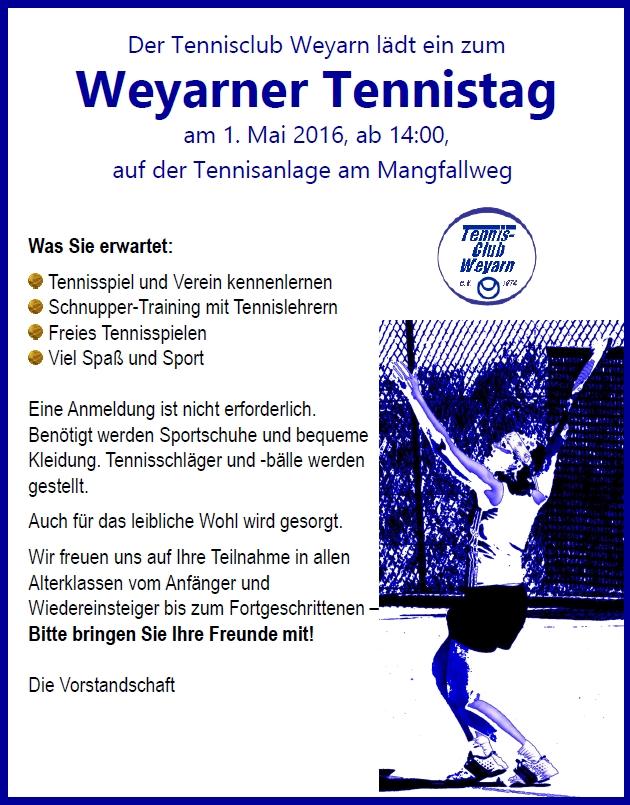 weyarner tennistag am 1 mai 2016 tennis club weyarn e v. Black Bedroom Furniture Sets. Home Design Ideas